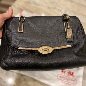 Coach Black Leather Bag with Protector Bag